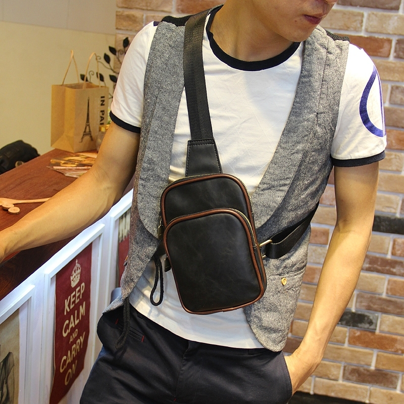 Quality PU leather chest bag vintage men sling bags phone ...