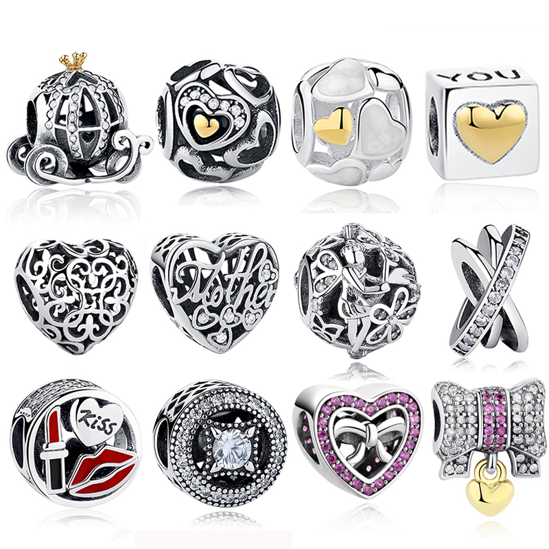 цена Authentic 925 Sterling Silver European Heart,Bow Knot,Tree Charms Beads Fit Original Pandora Bracelet DIY Jewelry Mother's Day