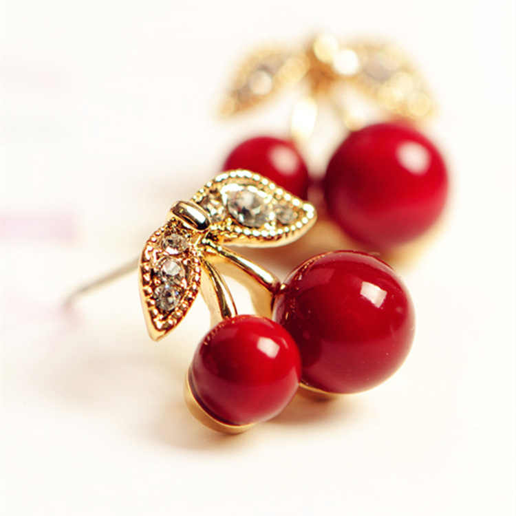 2019 New Fashion Cute Lovely Red Cherry Earrings Rhinestone Leaf Bead Stud Earrings For Woman Jewelry Boucle D'oreille Femme
