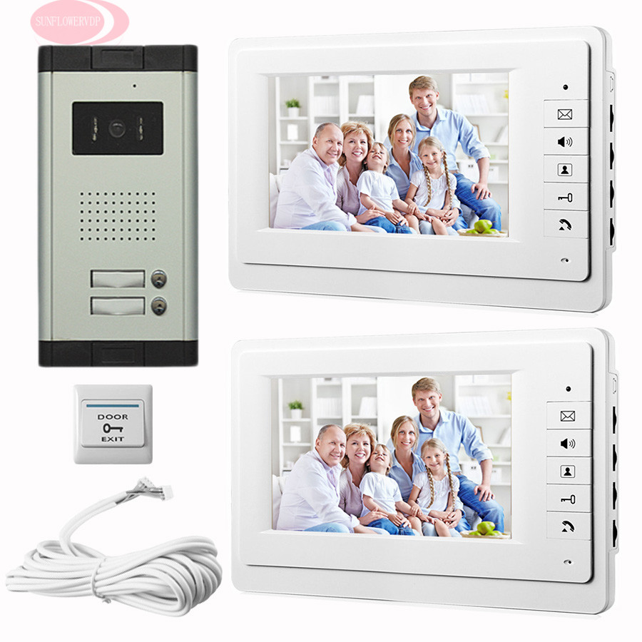 SUNFLOWERVDP 7 Inch Video Door Phone IR Night Doorbell Camera Home Phone Monitor 2 Apartment Doorbell Intercom Wired CCD Camera