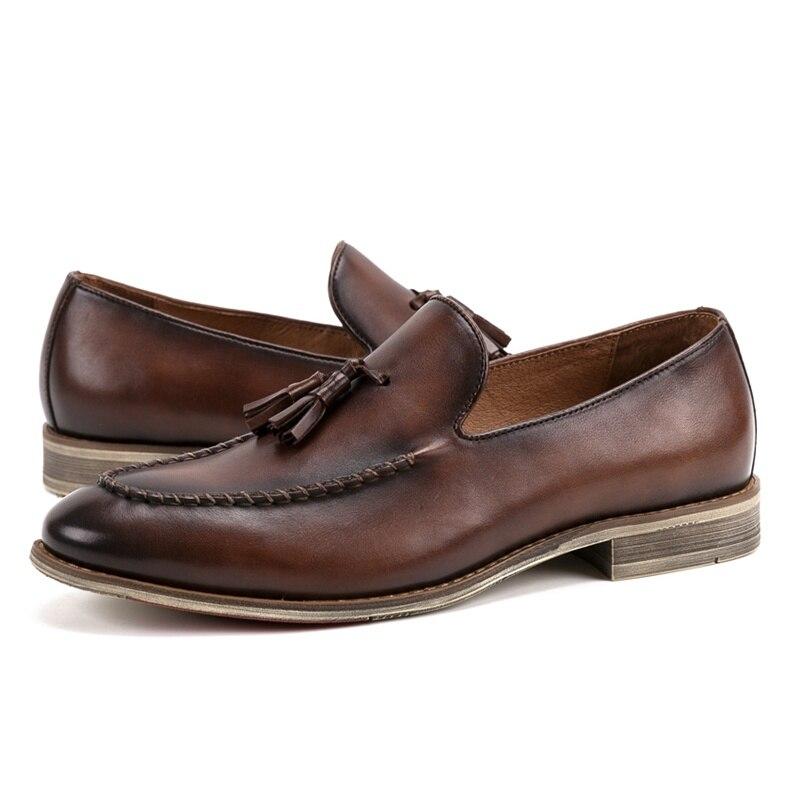 Confortable Chaussures Mocassins On coffee Bateau Véritable Cuir En Main Rond Noir Casual Arrivée Bout De Ss212 Nouvelle Mocassin Homme marron Hommes Slip OWYCwB