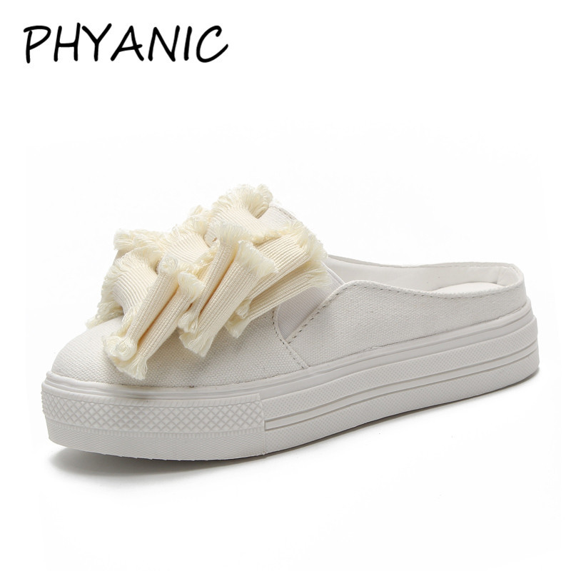 PHYANIC 2018 Summer New Women Casual Slides Mules Low Heels Velvet Tassel Solid Flock Mules Slippers Shoes Woman PHY3241 phyanic 2017 gladiator sandals gold silver shoes woman summer platform wedges glitters creepers casual women shoes phy3323