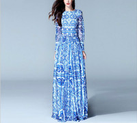 High Quality New Fashion Women S Long Sleeve Vintage Blue And White Print Dress Brenda Maxi