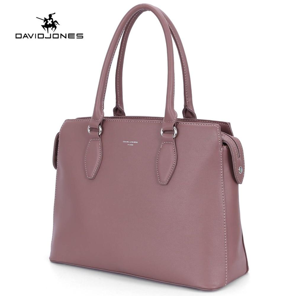 DAVIDJONES women tote bags faux leather female shoulder bags large lady solid handbag girl brand messenger bag free shipping все цены