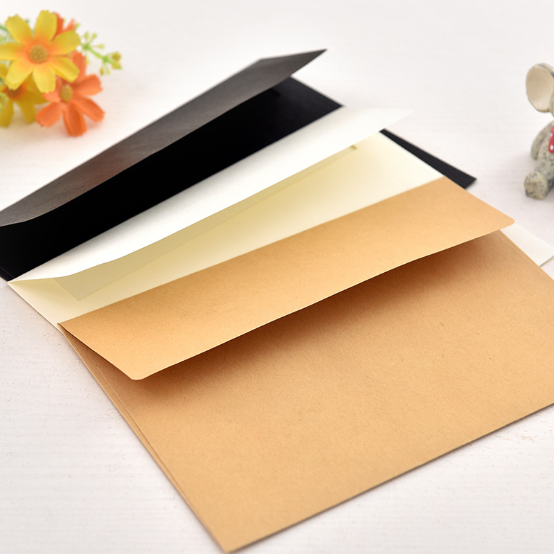 10pcs/pack 17.5x12.5cm Kraft White (ivory White) Black Paper Envelope Message Card Letter Stationary Storage Paper Gift