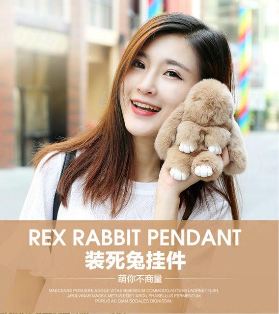 Free shipping best quality rabbit Fur Keychain  Bag Car Charm Pendant Cute 18cm fluffy Rabbit Real Fur Keychains fashionable