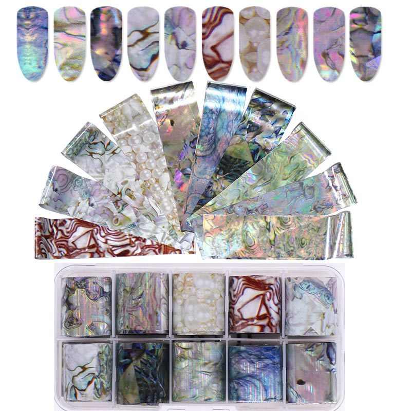 Holographique ongles feuille ensemble 16/14/10 pièces Transparent AB couleur Nail Art transfert autocollant manucure autocollant bricolage décoration
