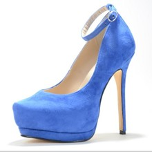 Women Shoes 2015 Suede Leather Women's Stiletto Heel Pionted Toe Solid Bule With Buckle Heel Comfortable zapatos mujer Pumps