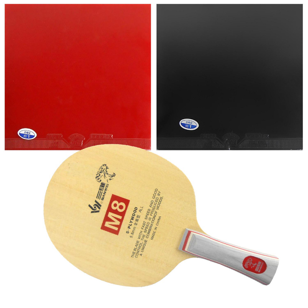Pro Table Tennis Combo Paddle Racket Sanwei M8 Blade with 2x 729 Super FX Rubbers shakehand Long Handle FL