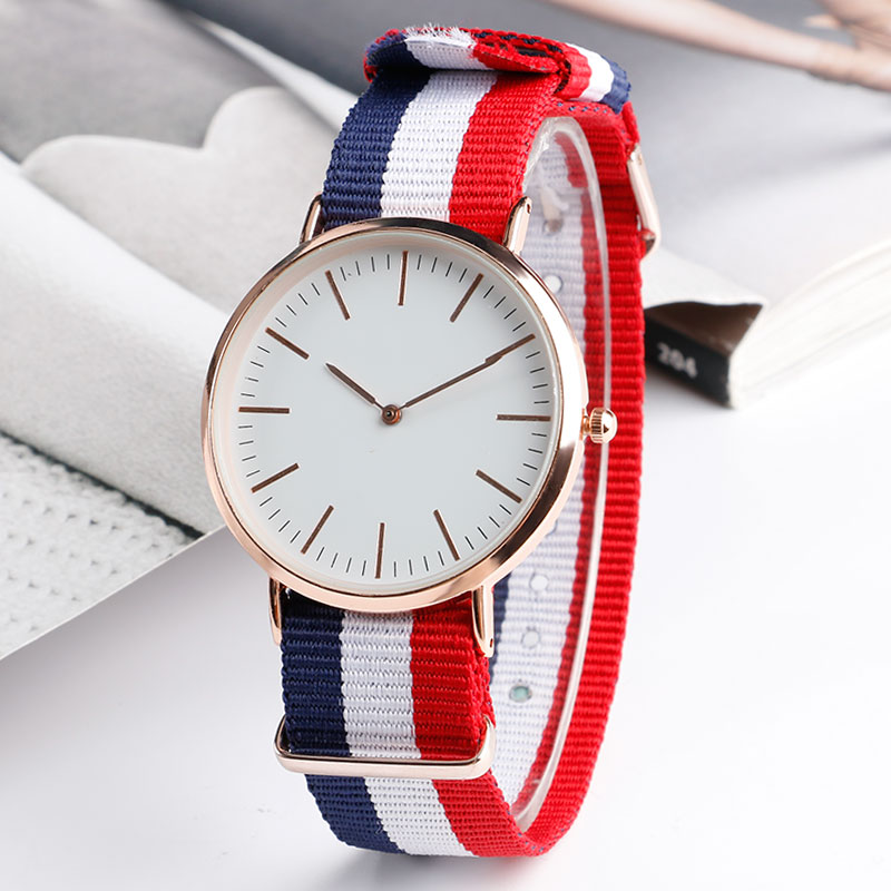 2016 Fashion Nylon Fabric Band Analog Casual Wrist Watch Men Male Quartz-watch Women Sport Clock Relogio Feminino Masculino golden silver transparent hollow dial quartz men wrist watch stainless steel band casual sport watches man analog male clock gif