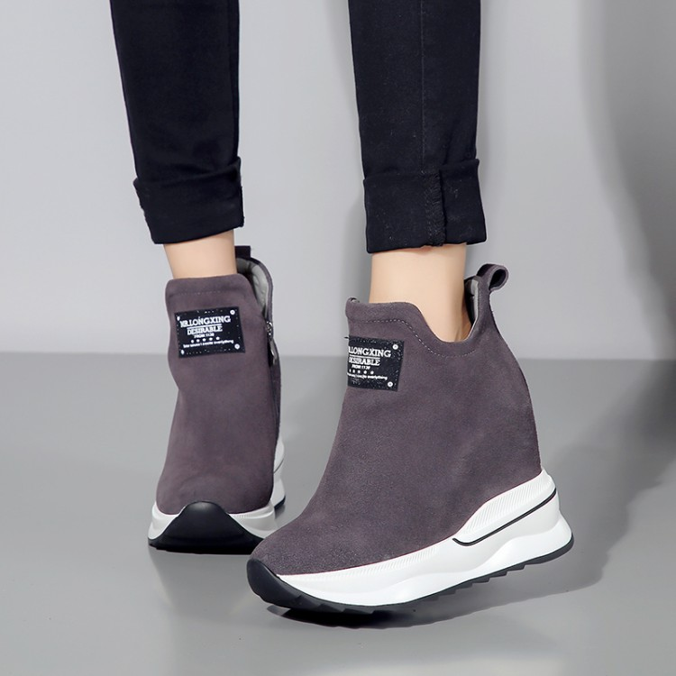 Frauen Heel Zunehmende Wildleder Neue Keile 2018 grau {zorssar} Stiefeletten High Schuhe Stiefel Schwarzes Höhe Plattform Winter Leder 8XPEXqxw