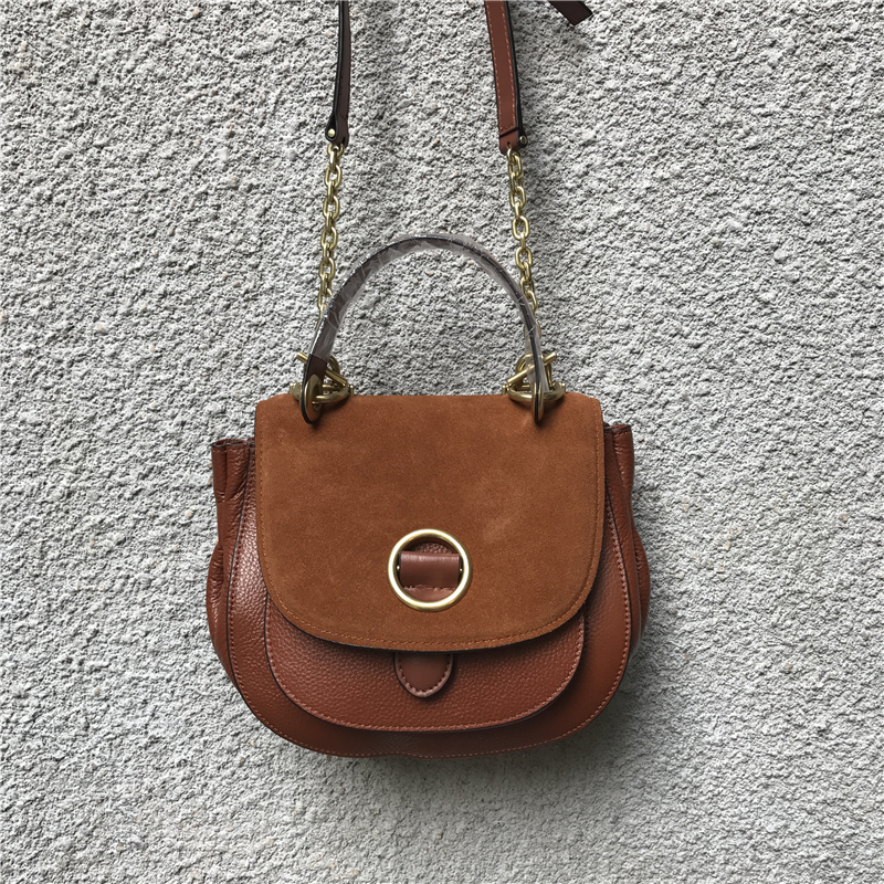 ФОТО free shipping High quality nubuck leather small round package vintage cowhide shoulder bag chain bag genuine leather handbag