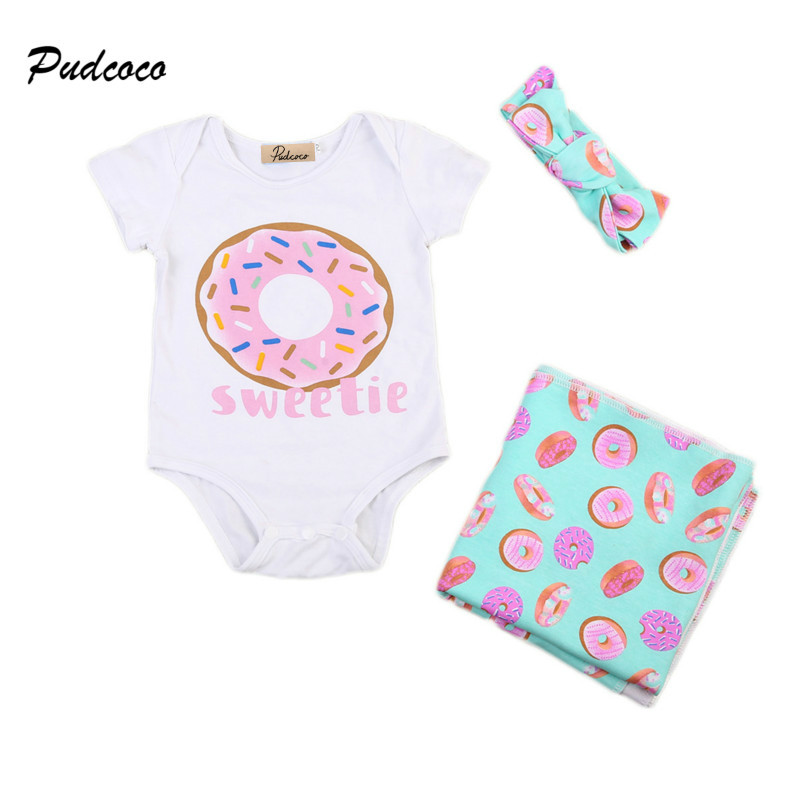 Cute Newborn Infant Baby Boy Girl Clothes Short Sleeve Print Baby Romper Receiving Blanket Headband 3PCS Kids Clothing Set 2017 baby girl summer romper newborn baby romper suits infant boy cotton toddler striped clothes baby boy short sleeve jumpsuits
