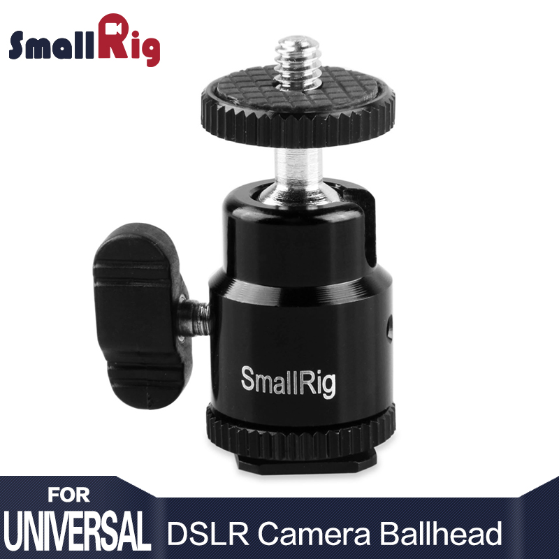 SmallRig Ballhead DSLR Camera Quick Release Ball Head with Cold Shoe to 1/4 Threaded Adapter for Monitor Flash Light attach