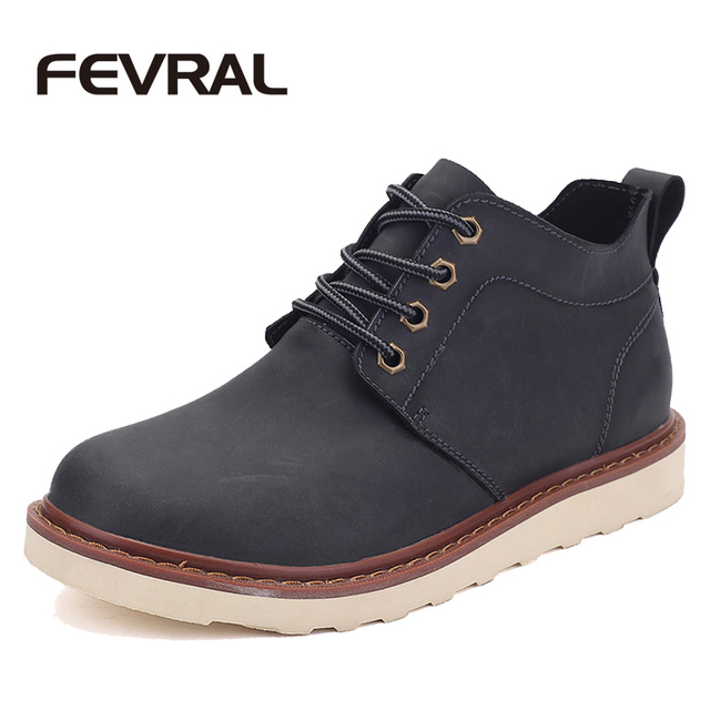 FEVRAL Brand Fashion Cow Split Leather Basic Men Boots Original Brand Spring Autumn Footwear Men Shoes Stylish Men Ankle Boots