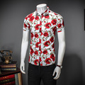 M-5XL Flower floral spring 2017 new style short sleeve men shirt Mens Dress Shirts Male Clothes Social Casual Shirt Men CD333