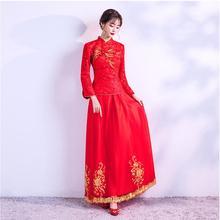Chinese style long sleeve red toast ladies wedding dress Brand New Elegant Hand Embroidery Chinese Cheongsam Winter Bride Gown традиционное китайское платье brand new peking cheongsam ccw005