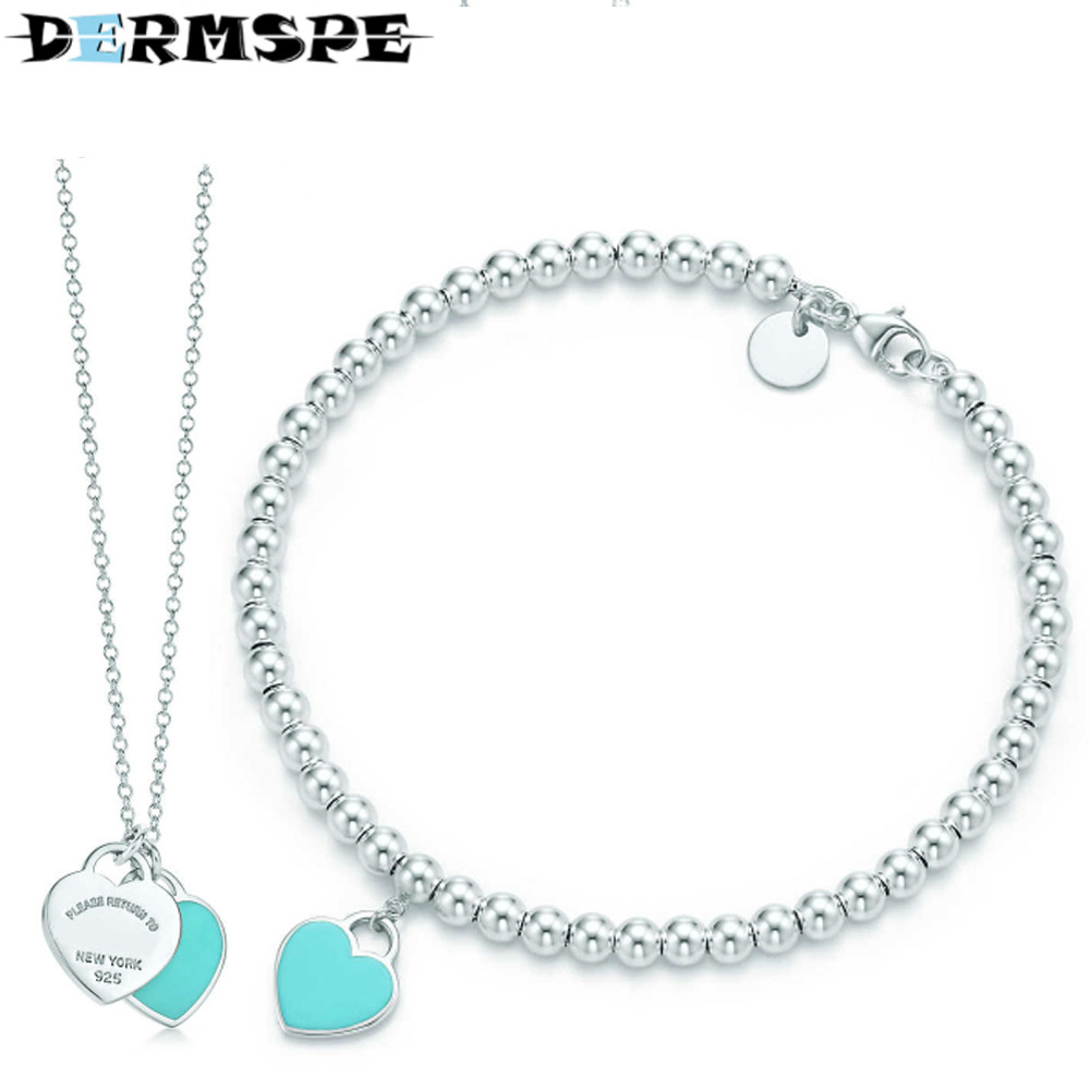 DERMSPE Infinity Authentic TIFF 925 Sterling Green Silver Bracelet Love Set Bracelet Women Romantic Gift Charm Jewelry Necklace authentic new brand women infinity bracelet 925 sterling silver cz crystal charm bracelet for women wedding jewelry gift ys1001