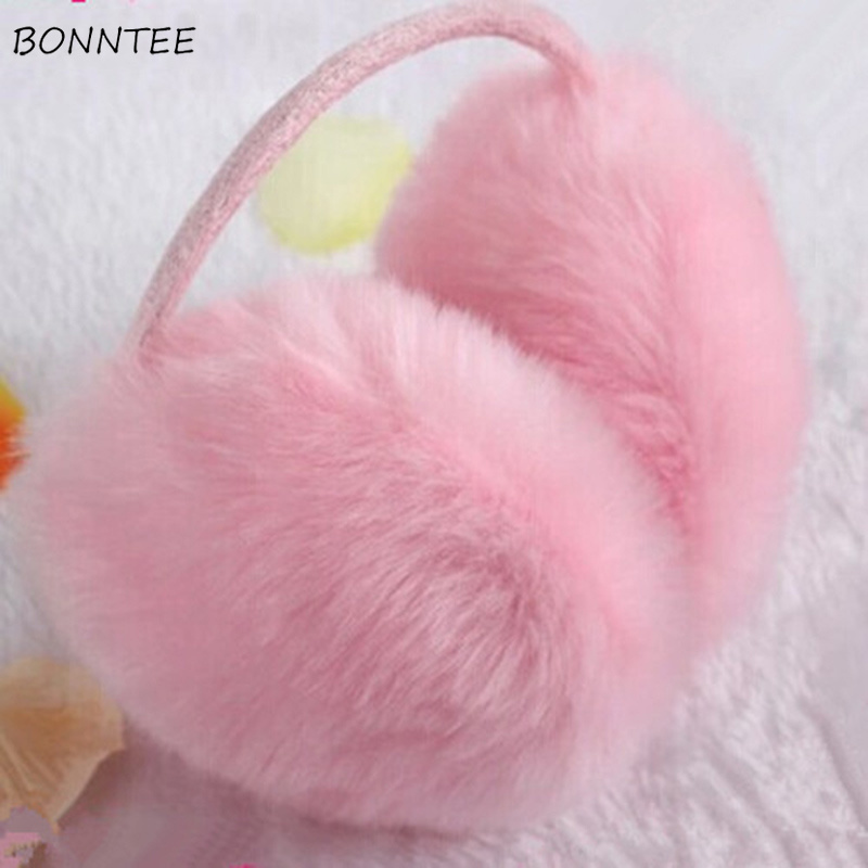 Earmuffs Women Furry Kawaii Streetwear Rabbit Faux Fur Solid Womens Earmuff Korean Style All-match Leisure Cute Students Daily