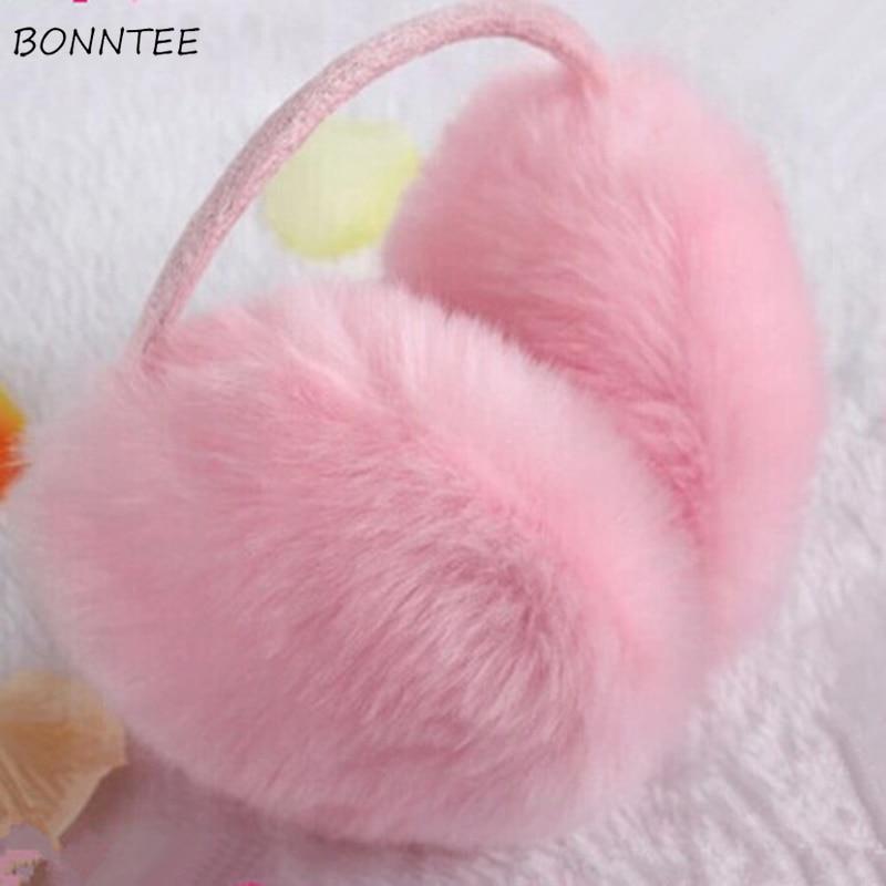 Earmuffs Women Furry Kawaii Streetwear Rabbit Faux Fur Solid Womens Earmuff Korean Style All-match Leisure Cute Students Daily