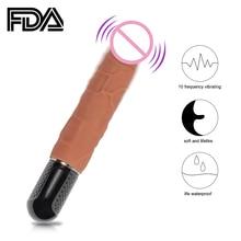 YUELV 10 Speeds Realistic Dildo Vibrator Female Masturbation Vagina Silicone Massage Wand G-spot Stimulate Sex Toys For Women