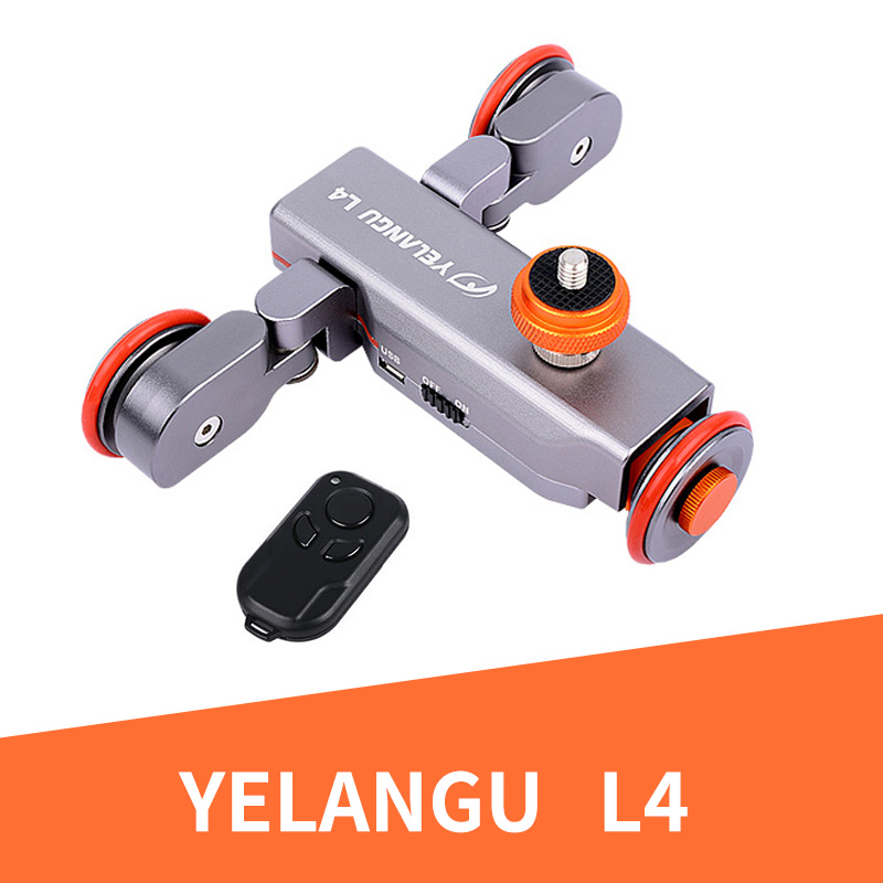 YELANGU 3-Wheel Dolly Pista Deslizante Polia Rolamento Ferroviário Carro Elétrico Com Controle Remoto Manual Para Telefone Inteligente Da Câmera DSLR