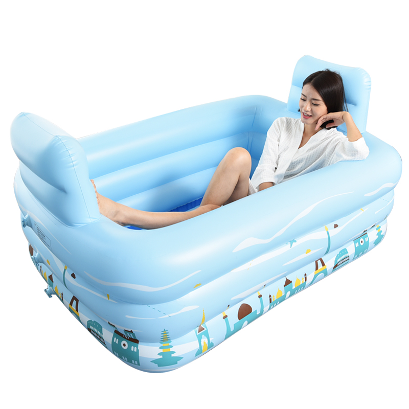Household Adult Inflatable Bath Barrel Fold Thicken Warm Plastic ...