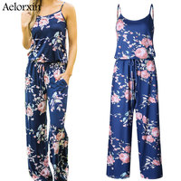 2018 Summer Women Sexy Sling Bodysuit Female Boho Jumpsuit Rompers Loose Trousers Top Combinatio Casual Pants