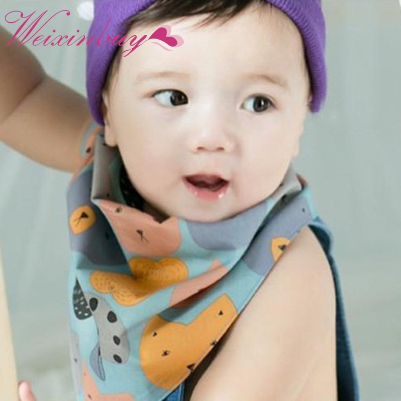 Popular Cute Cotton Baby Towel Toddler Newborn Triangle Scarf Girls Feeding Bib Infant Burp Clothes