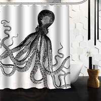 Custom Octopus Steampunk Ocean Shower Curtain 60 X 72 66 X 72 48 X 72 Bathroom