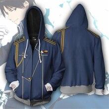 Anime Fullmetal Alchemist Sweatshirts Men and Women Zipper Hoodies 3d Print Hooded Jacket for Boys Heatblast Harajuku Streetwear