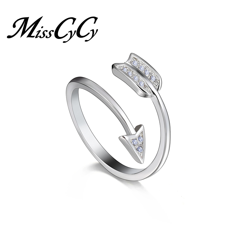 MissCyCy Fashion Adjustable Silver Color Arrow Rings for Women Rhinestone Engagement Ring Female Jewellery