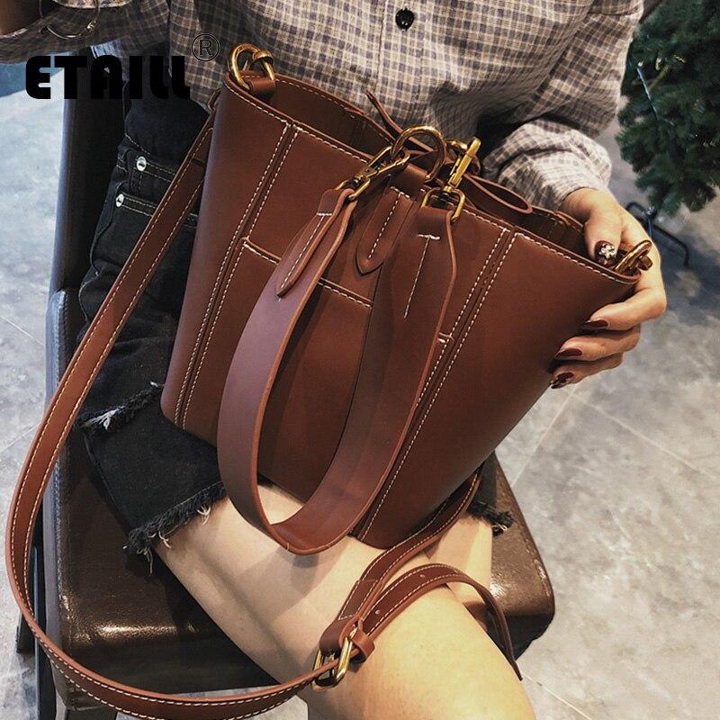 ETAILL 2018 Brief Korea Bucket Composite Bag Fashion Women Shoulder Bags PU Leather Casual Handbags Hit Color Messenger Bags