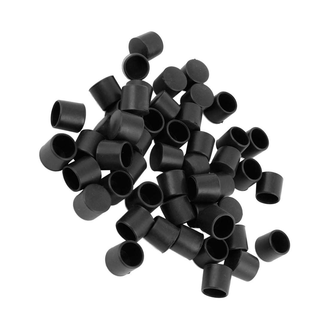 Hot Sale 50 Pcs Black Rubber PVC Flexible Round End Cap Round 12mm Foot Cover