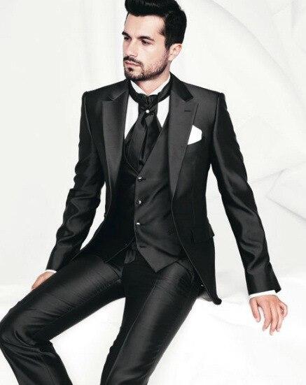 2016 nuovo design one button slim fit navy blue groom tuxedo picco risvolto best man groomsmen uomo abiti da sposa sposo - 3