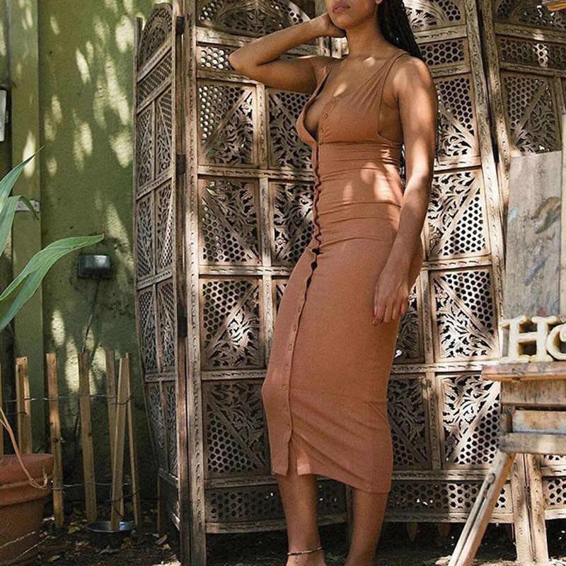 Sexy sem mangas com nervuras maxi vestidos de cintura alta longo vestido de tanque verão 2019 cabido bodycon robe femme botões vestidos femininos c56