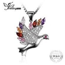 Cuatro Colores de Pluma de Paloma de La Paz Colgante de Ley 925 Colgante de Plata para Las Mujeres Del Partido de La Moda de Joyería Fina Mejor Regalo