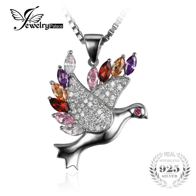 Four Colors of Feather Peace Dove Pendant 925 Sterling Silver Pendant for Women Fashion Vintage Party Fine Jewelry Best Gift