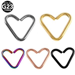 1PC NEW Fashion G23 Titanium Daith Heart Colorful Ear Cartilage Tragus Piercing Nose Hoop Rings Sexy Girls Body Jewelry 16g