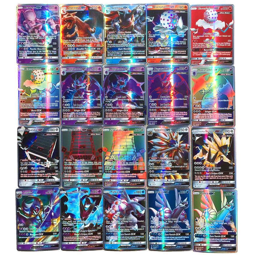 No Repeat 100 200Pcs Playing Shining For Pokemones Game Collection Cards Toys Trading GX MEGA Battle Carte Toy English Language(China)