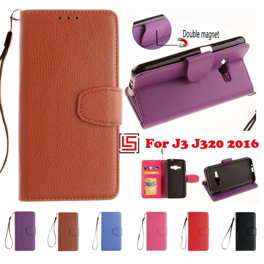 Luxury PU Leather Flip Book Wallet Phone Cell Mobile Case capa kryty Cover Cove For Samsung Samsu Samsug Galaxy J3 2016 Brown
