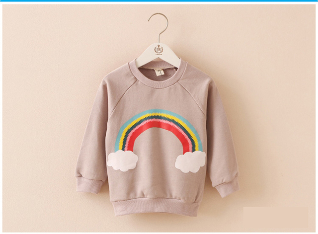 2016 autumn  fashion children's full sleeve t-shirt Baby cotton Rainbow clouds moon pattern for boy girl clothes