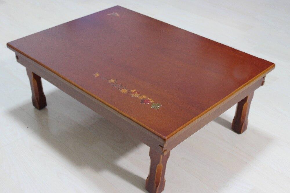Korean Compact Folding Table Rectangle 70*50CM Living Room Traditional Antique Korean Oriental Design Furniture Tea Table Wooden