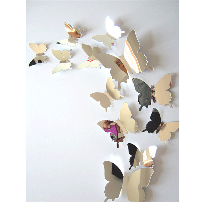 12 шт./компл. зеркало Наклейки на стену Наклейка бабочки 3D зеркало настенное Книги по искусству домашнего декора бабочки Холодильник настенн... ...