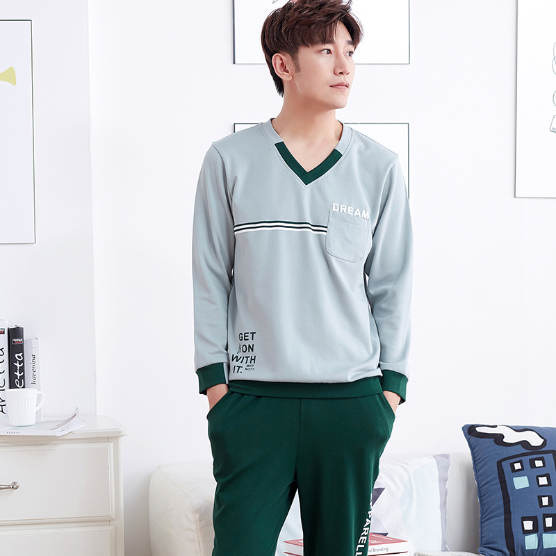 The New Arrival Autumn And Winter Mens Pajamas Long Sleeve Home Wear 100% Cotton Pyjamas Men V-neck Pajama Casual Wear Suit ...