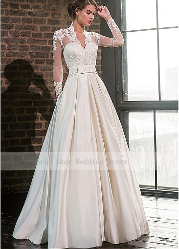 Elegant Sweetheart Satin Wedding Dress with Jacket Long Sleeve Floor Length Bridal Gowns Pockets Robe De Mariage 3