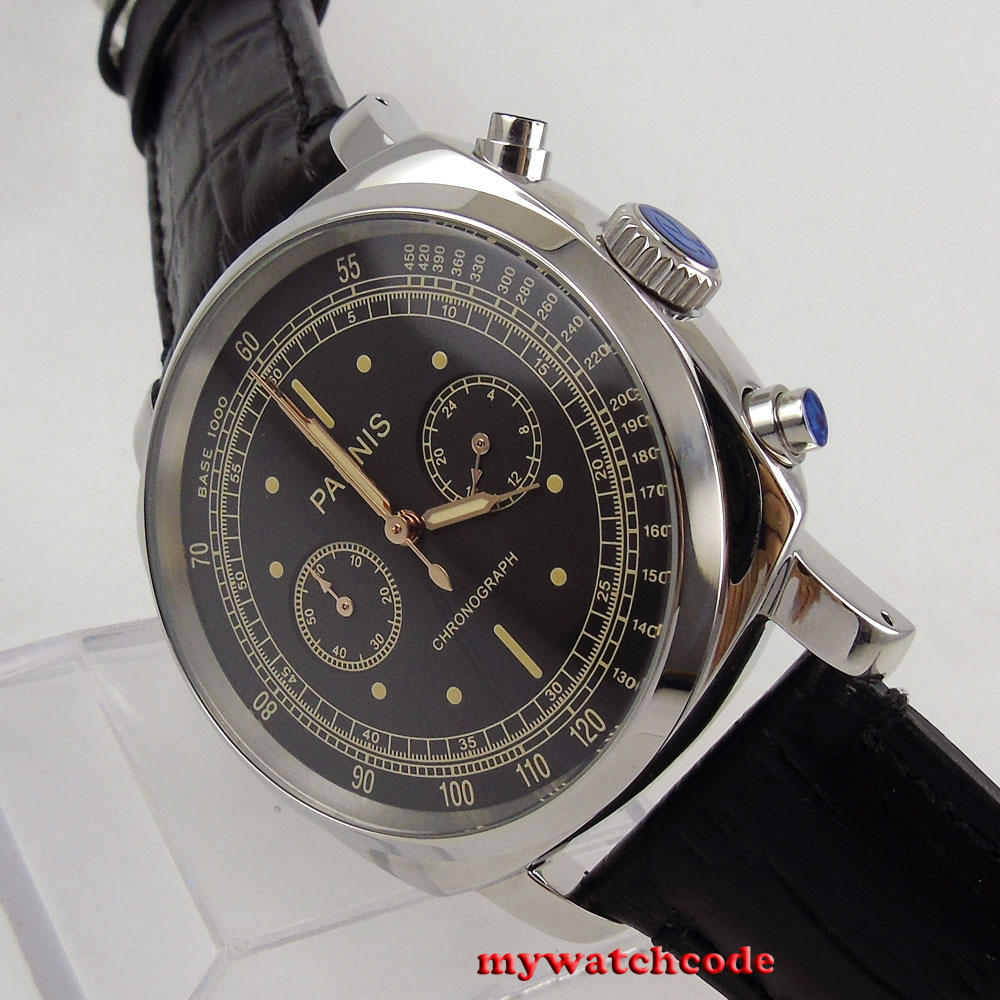 luxury brand 44mm Parnis black dial solid case stop s