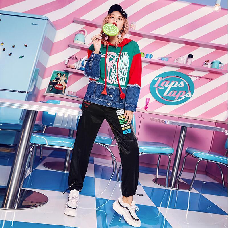 Patch Sweats Show 2018 À Cool Femmes Contrastées Designs Arrivée Denim Couleurs Automne Mode Shirts Capuche Nouvelle As waq7aI
