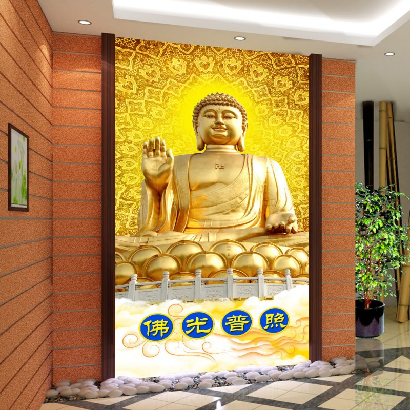 Custom Wall Mural Buddha Buddha Bodhisattva Entrance Background Wall Living Room Bedroom Corridor Wallpaper Mural Bathroom