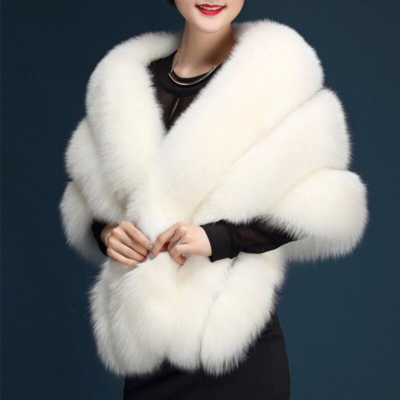 Mode paragraphe mariée mariage châle blanc grande taille artificielle renard fourrure manteau femmes fourrure gilet fausse fourrure manteau rose PC231 - 2